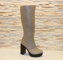 Сапоги женские зимние бежевые на каблуке натуральная кожа код С681-1