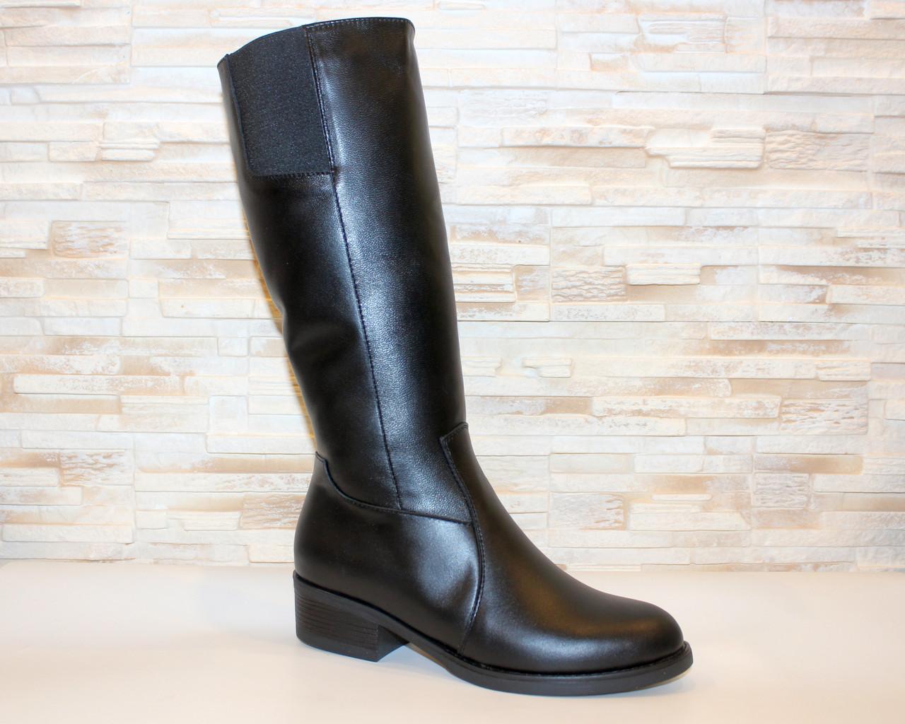 Сапоги женские черные зимние на низком каблуке натуральная кожа С963