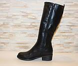 Сапоги женские черные зимние на низком каблуке натуральная кожа С963, фото 2