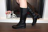 Сапоги женские черные зимние на низком каблуке натуральная кожа С963, фото 3