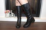 Сапоги женские черные зимние на низком каблуке натуральная кожа С963, фото 4
