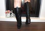 Сапоги женские черные зимние на низком каблуке натуральная кожа С963, фото 5