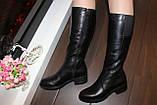 Сапоги женские черные зимние на низком каблуке натуральная кожа С963, фото 6