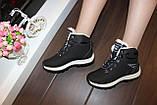Ботинки черные зимние на шнуровке С966, фото 6