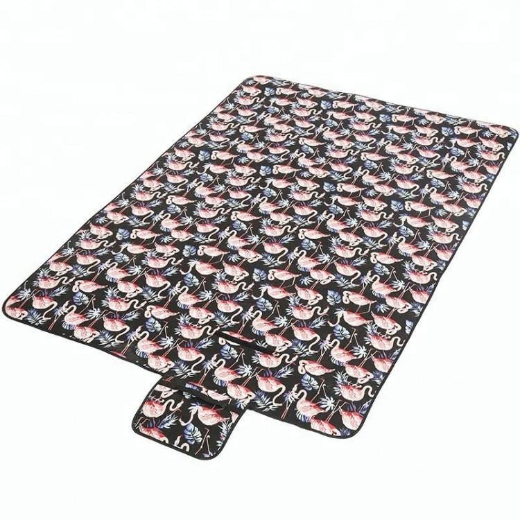 Коврик для пикника Фламинго черный