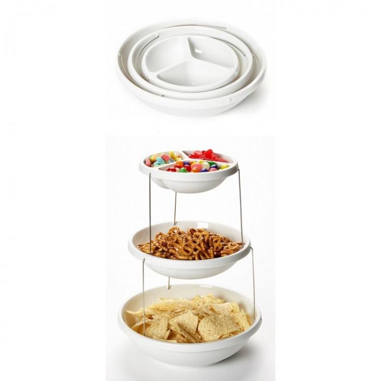 Складная подставка миска для чипсов фруктов Twistfold Party Bow White