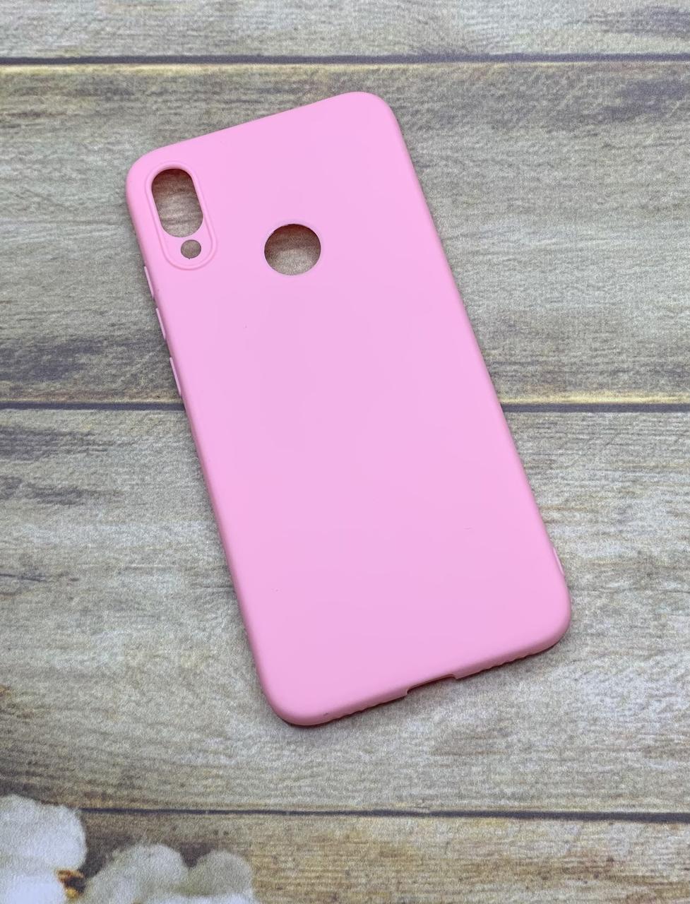 Xiaomi Redmi Note 7 чехол матовый цветной силиконовый розовый