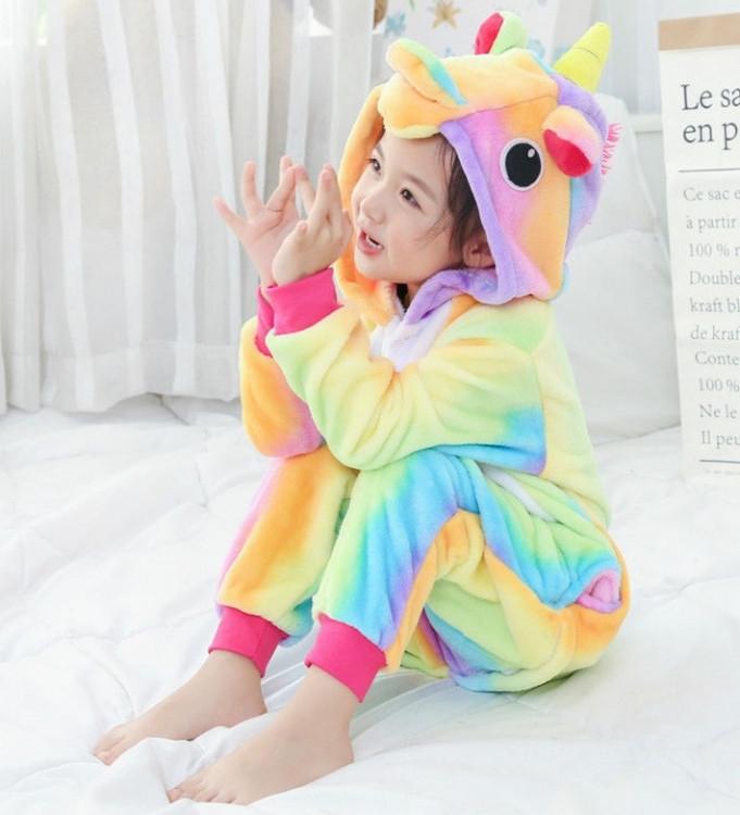 Детская пижама кигуруми радужный единорог 100 см