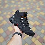 🔥 Кроссовки ботинки мужские зимние Adidas FASTR черные с оранжевым Нубук теплые на меху меховые, фото 4