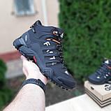 🔥 Кроссовки ботинки мужские зимние Adidas FASTR черные с оранжевым Нубук теплые на меху меховые, фото 6