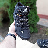 🔥 Кроссовки ботинки мужские зимние Adidas FASTR черные с оранжевым Нубук теплые на меху меховые, фото 7