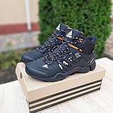 🔥 Кроссовки ботинки мужские зимние Adidas FASTR черные с оранжевым Нубук теплые на меху меховые, фото 5