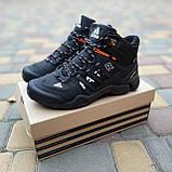 🔥 Кроссовки ботинки мужские зимние Adidas FASTR черные с оранжевым Нубук теплые на меху меховые, фото 8