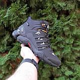 🔥 Кроссовки ботинки мужские зимние Adidas FASTR черные с оранжевым Нубук теплые на меху меховые, фото 3