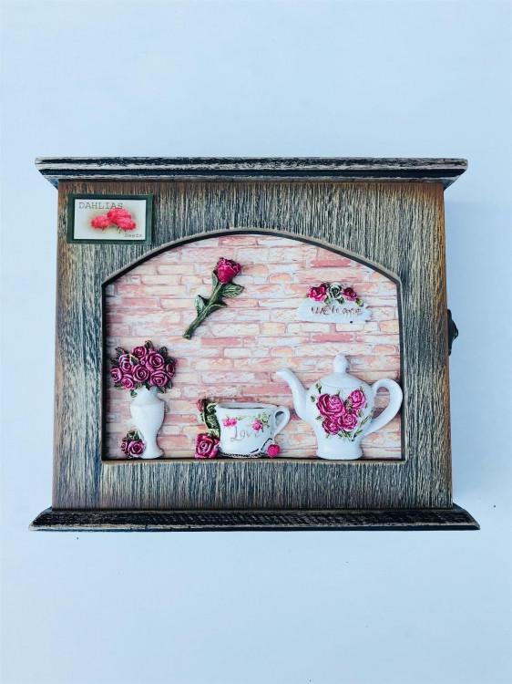 Ключниця настінна чайна Троянда до-03