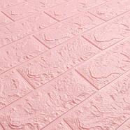 Декоративная 3D панель самоклейка под кирпич Розовый 700x770x7мм, фото 2