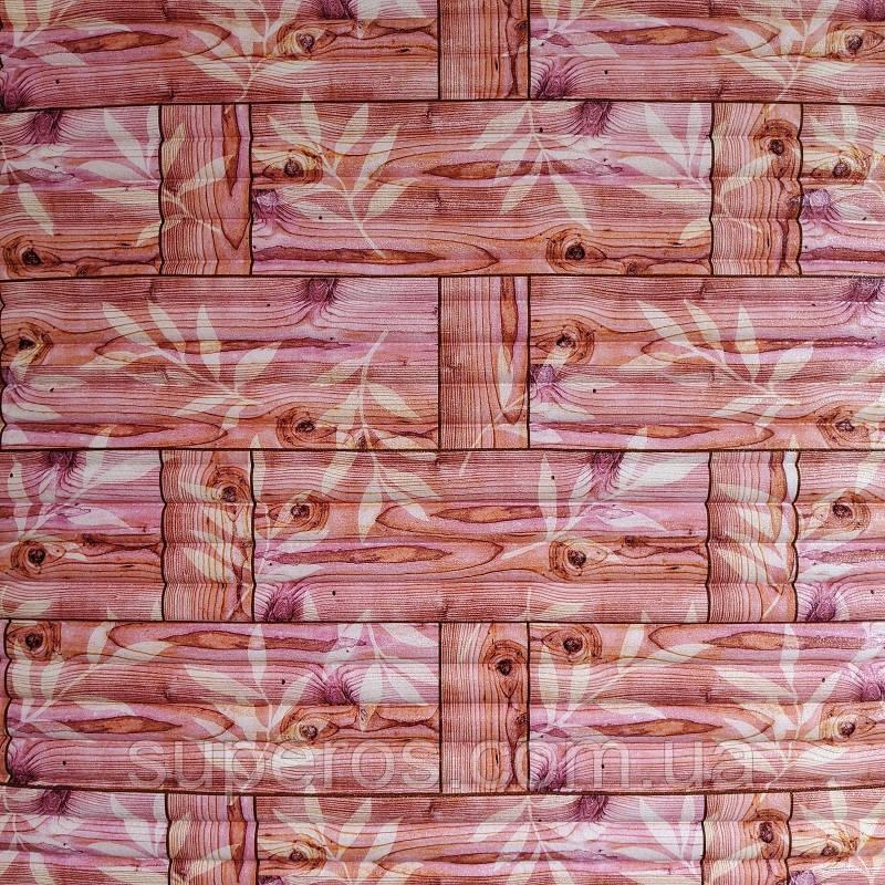 Самоклеющаяся декоративная 3D панель бамбуковая кладка оранжевая 700x700x5мм