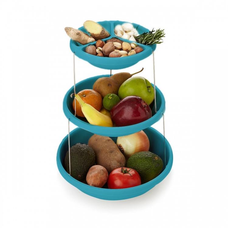Складная подставка миска для чипсов фруктов Twistfold Party Bow Blue