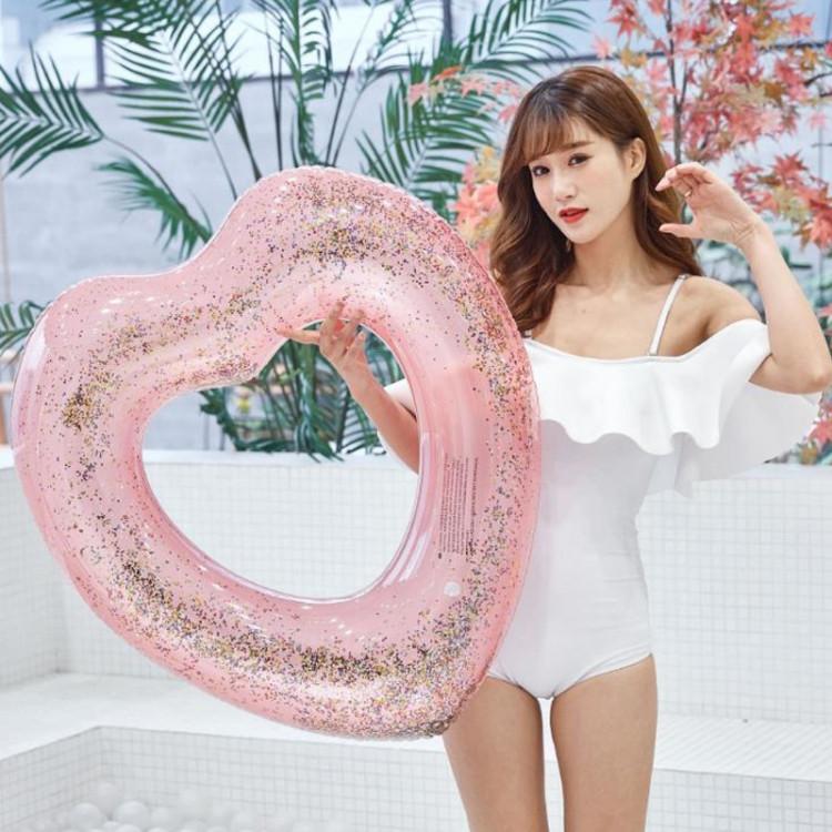 Надувной круг Сердце с блестками внутри 90см