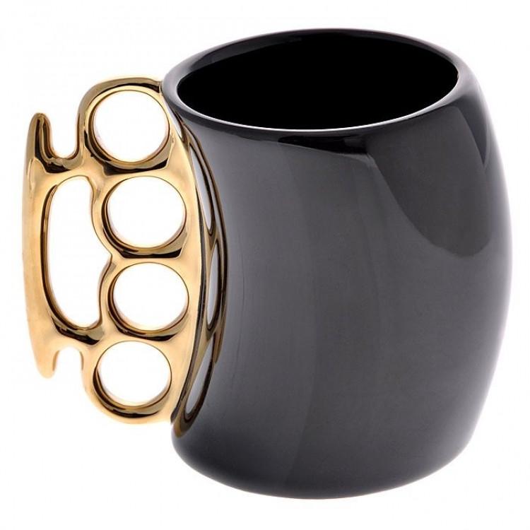 Чашка кастет Black с золотой ручкой