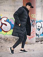 Удлиненная куртка мужская Зимняя черная парка теплая с капюшоном холофайбер