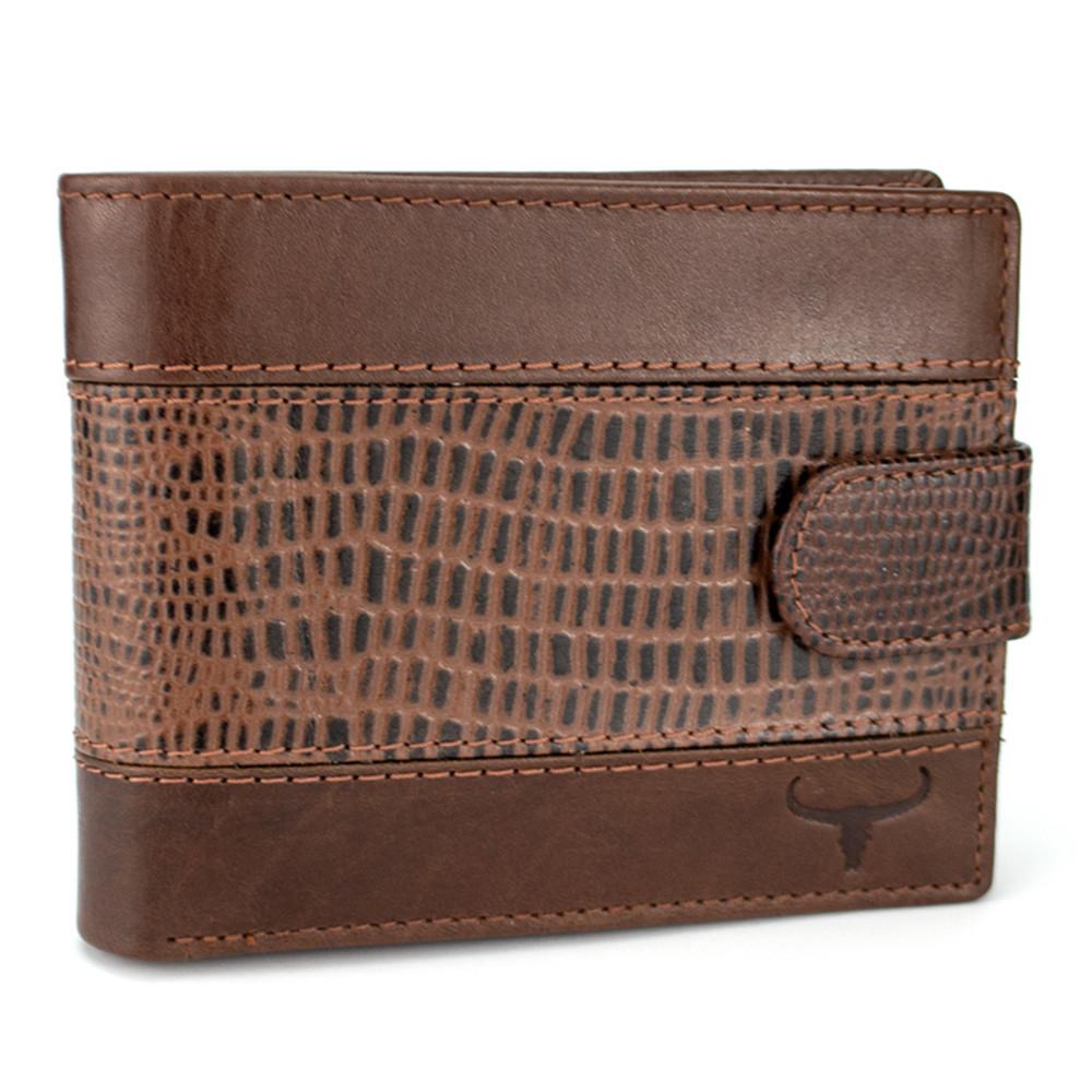 Мужское кожаное портмоне коричневое на кнопке Always Wild N992L-VTC Brown