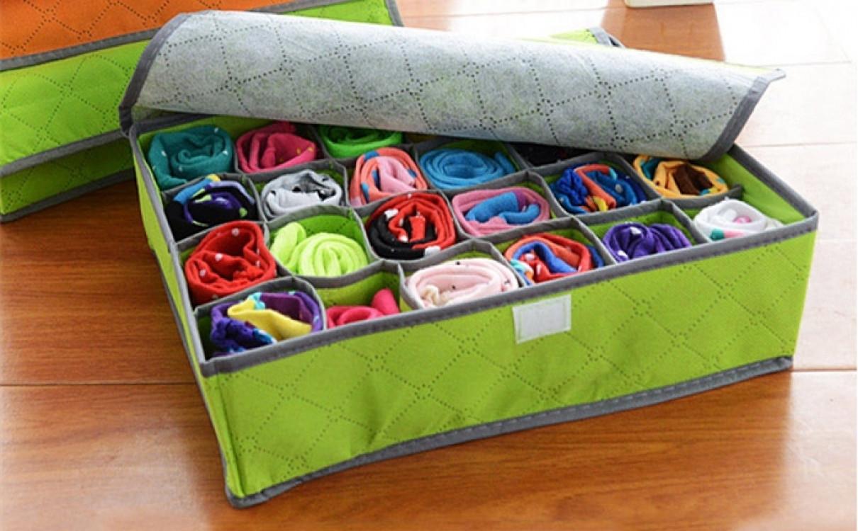 Органайзер для белья и носков на 24 ячейки Бамбуковый (Зеленый)