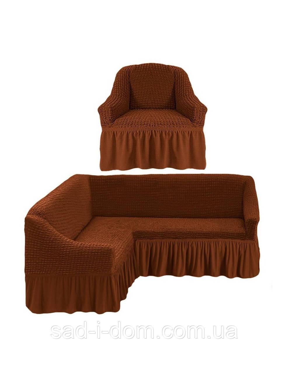 Чехол на угловой диван и кресло, чехол на диван