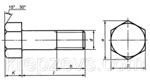 Высокопрочные болты М22 с шестигранной головкой ГОСТ Р52644-2006, ISO 7411:1984