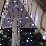 Новогодняя уличная гирлянда штора - дождик + FLASH 160 LED 5 м * 0,6 м, черный провод 2.2 мм, белый + flash, фото 2