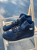 Кожаные высокие зимние кроссовки на меху Nike Air Jordan Retro черного цвета (Найк Аир Джордан 41-46), фото 1
