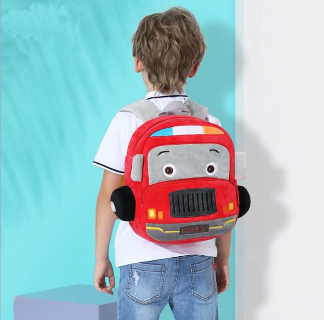 Детский плюшевый рюкзак сумка для мальчика 2-4 года Fire Car (Пожарная машина)