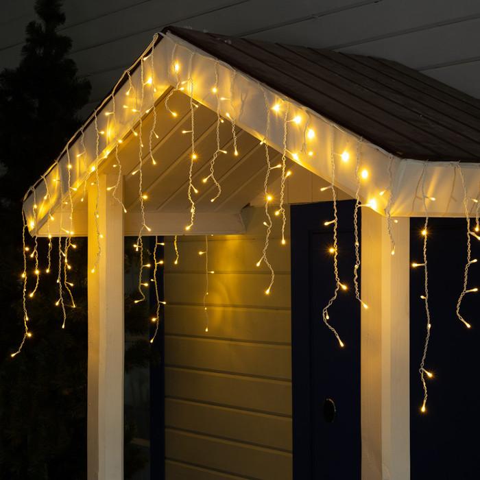 Новогодняя уличная гирлянда штора - дождик 160 LED 5 м * 0,6 м, прозрачный провод 2.2 мм, теплый белый + flash