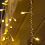 Новогодняя уличная гирлянда штора - дождик 160 LED 5 м * 0,6 м, прозрачный провод 2.2 мм, теплый белый + flash, фото 2