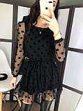 Платье женское чёрное в горошек вечернее нарядное, фото 3