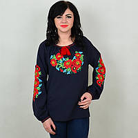Женская вышитая блузка TM KOSAR Роксолана M46 Темно-синий 184-53646, КОД: 1727178