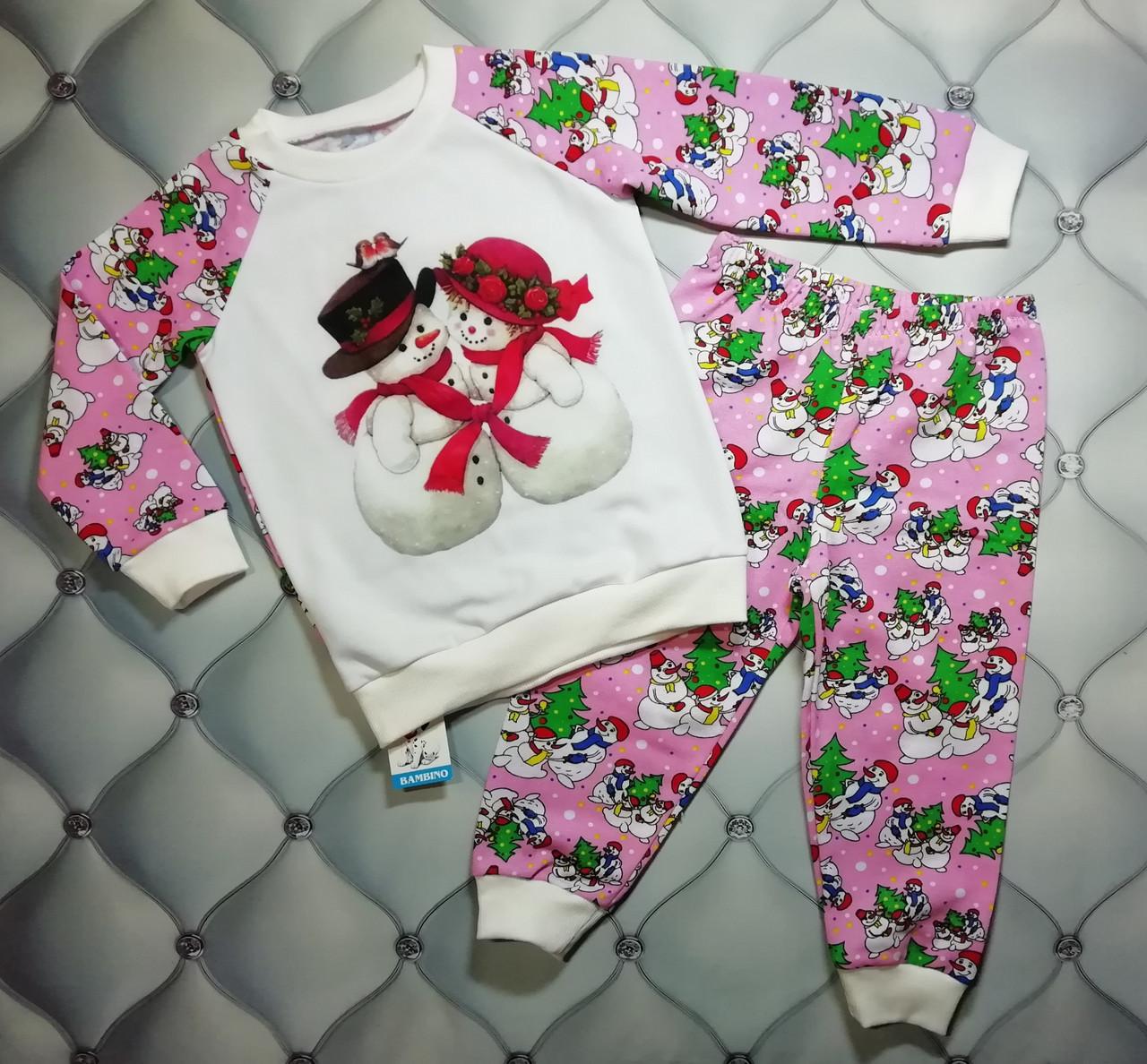 Пижама р. 92 на Новый Год девочке Влюбленные снеговички