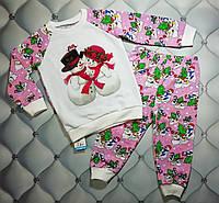 Пижама р. 92 на Новый Год девочке Влюбленные снеговички, фото 1