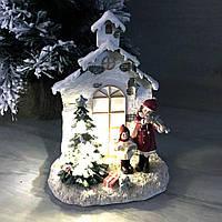 Новогодний декор с LED подсветкой Дети у ёлки, 16*21см, фото 1