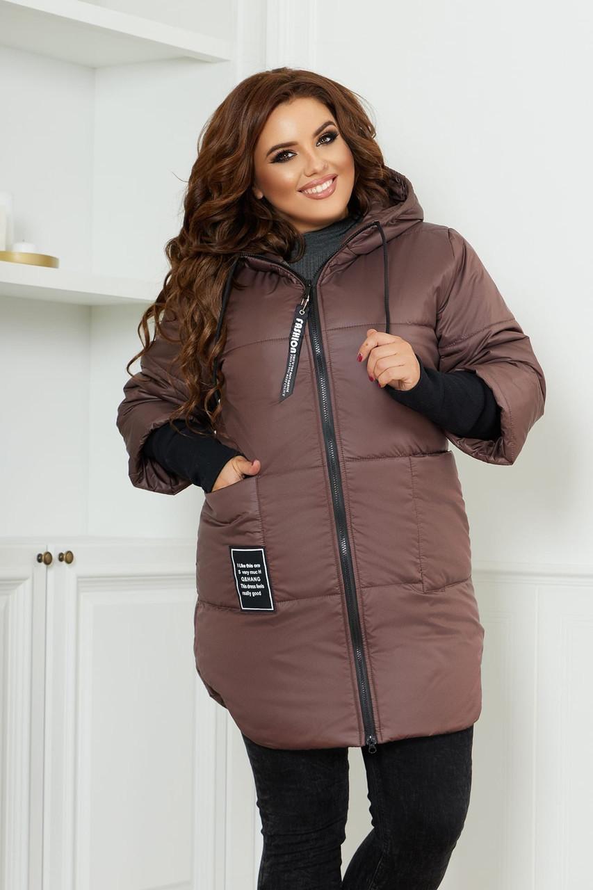 Женская теплая стеганная осенне-зимняя куртка на синтепоне с довязанными рукавами, батал большие размеры