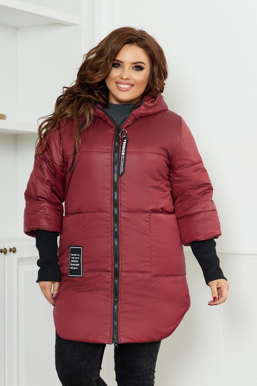 Жіноча тепла стьобаний осінньо-зимова куртка на синтепоні з довязанными рукавами, батал великі розміри