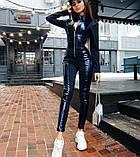 Женский кожаный комбинезон на молнии, фото 2