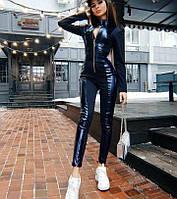 Женский кожаный комбинезон на молнии