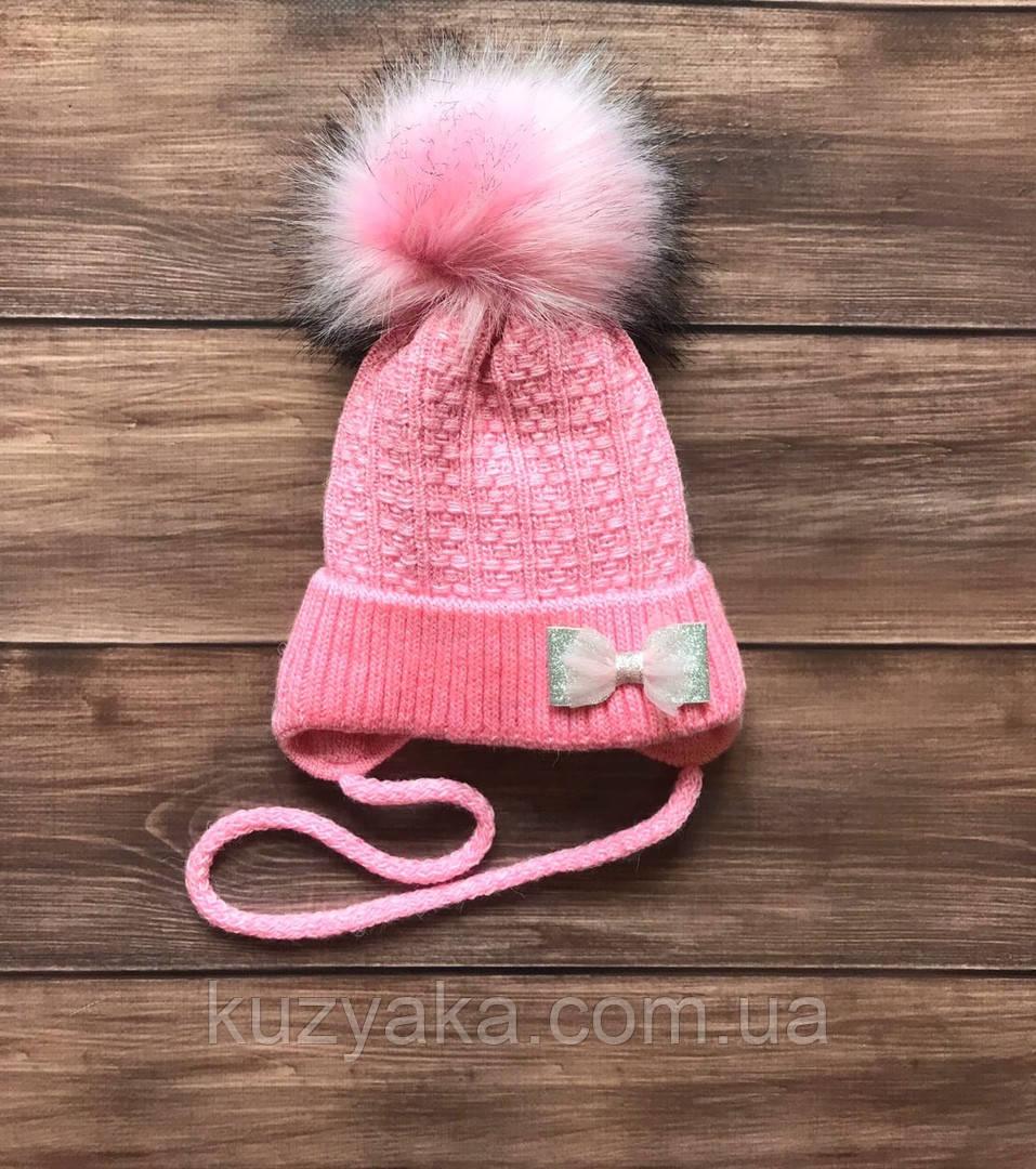 Детская зимняя шапка на флисе для девочки на 6-18 месяцев