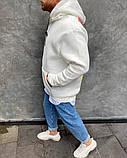 Толстовка мужская белая на флисе, фото 5