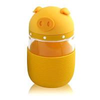 Кружка из стекла в силиконовой защите с крышкой и ремешком Piggy