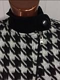 Трендовый турецкий черно - белый женский пиджак косуха, фото 7
