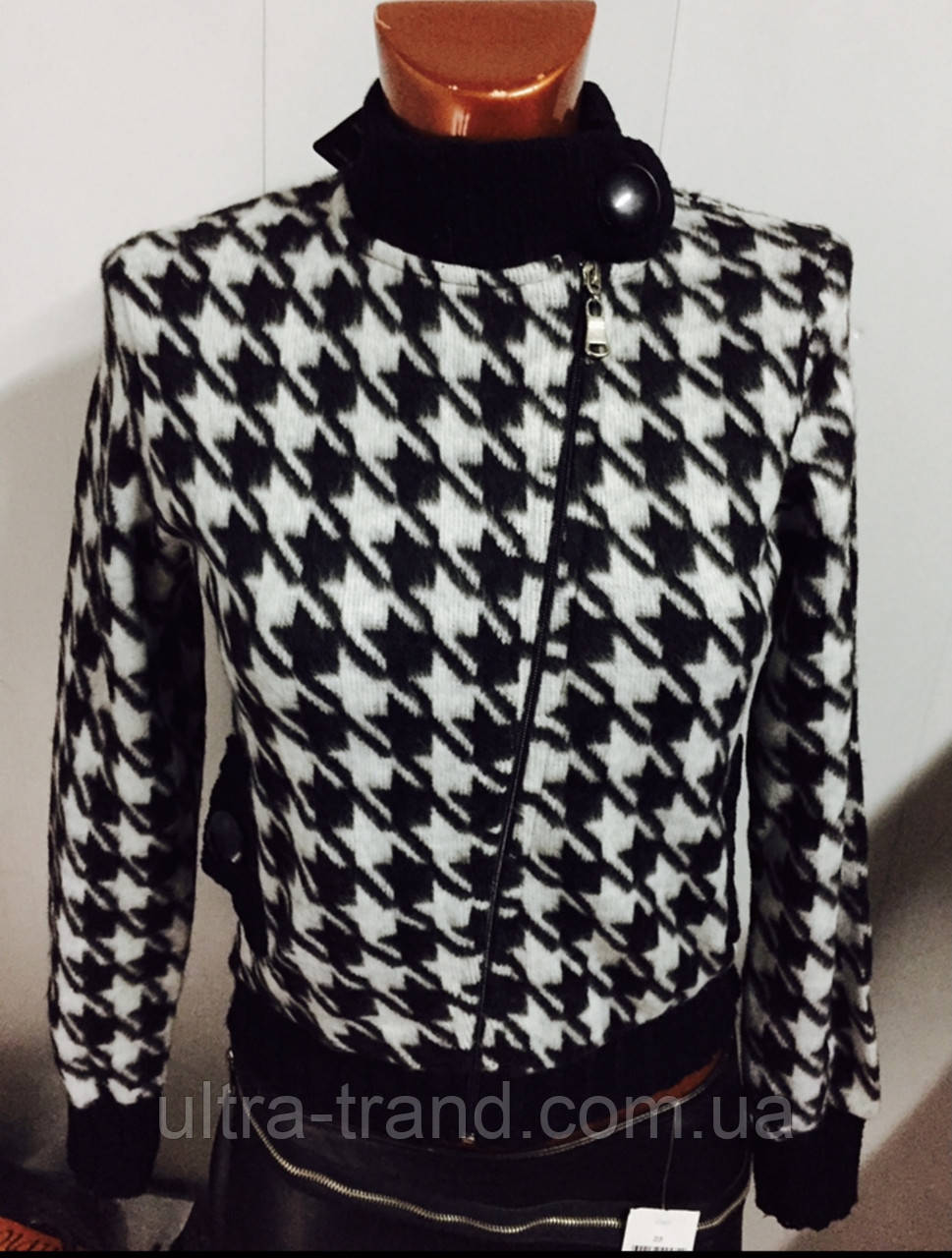 Трендовый турецкий черно - белый женский пиджак косуха