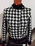 Трендовый турецкий черно - белый женский пиджак косуха, фото 4
