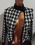 Трендовый турецкий черно - белый женский пиджак косуха, фото 2